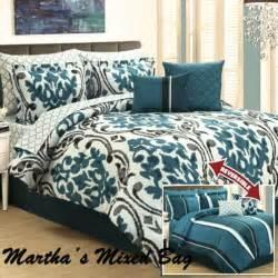 french damask arabesque stripes teal black gray king size comforter bedding set