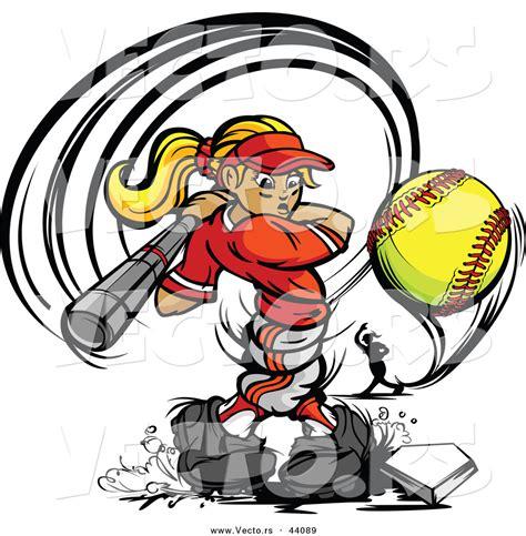 Cartoon Female Softball Players