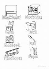 Classroom Objects Colouring Worksheets Esl Vocabulary sketch template