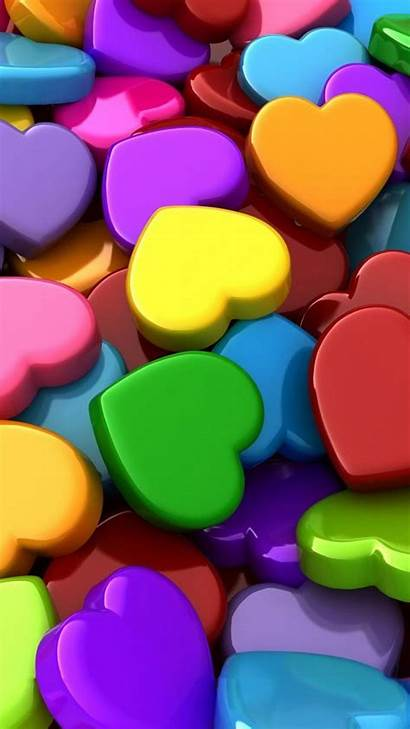 3d Wallpapers Background Heart Colourful Android Colorful