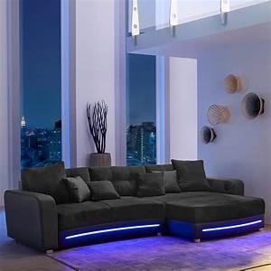 Sofa Mit Led Und Sound : wohnlandschaft laredo sofa ecksofa in schwarz grau greige led soundsystem ebay ~ Indierocktalk.com Haus und Dekorationen