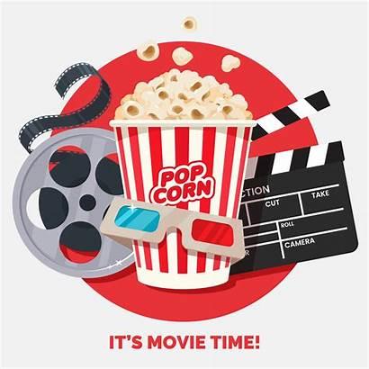 Cinema Popcorn Theater Illustration Banner Vector Round