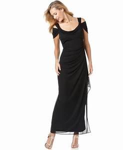 Alex Evenings Dress, Sleeveless Draped Evening Gown ...