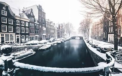 Grachten Sneeuw Amsterdamse Onder Amsterdam Canal Covered