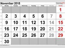 Calendar November 2015 UK, Bank Holidays, ExcelPDFWord