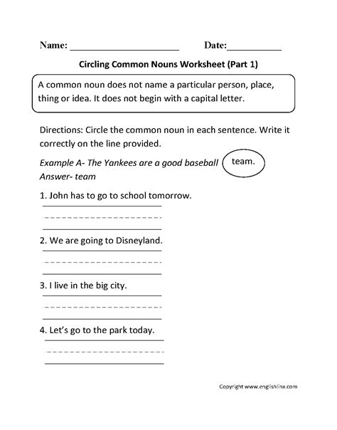 proper  common nouns worksheets circling common nouns