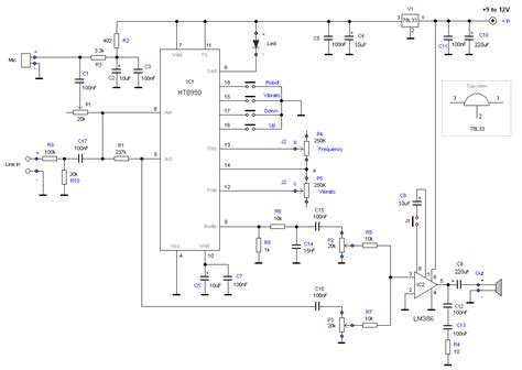 Robot Voice Generator Microcontroller Project Circuit