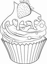 Coloring Cupcake Pages Food Printable Sweet Adult Strawberry Drawings Cute Cupcakes Sheets Digi Drawing sketch template