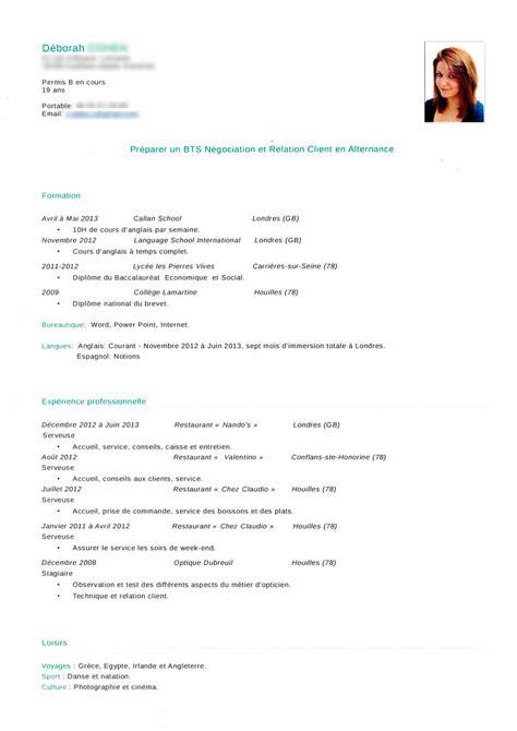 Modele Cv Pour Etudiant by Cv Etudiant Pour Bts Alternance