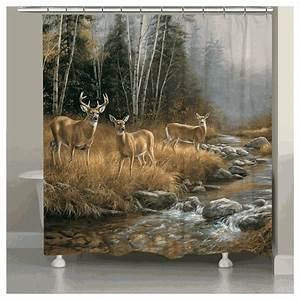 Deer Stream Shower Curtain