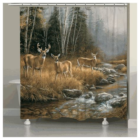 Deer Stream Shower Curtain