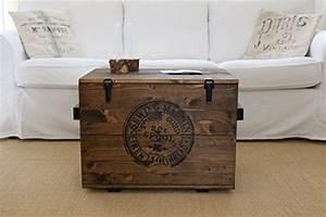 Table Basse Caisse Bois : caisse en bois coffre table basse table d 39 appoint vintage style shabby chic bois massif noyer ~ Nature-et-papiers.com Idées de Décoration
