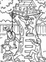 Coloring Treehouse Baumhaus Boomhutten Tree Ausmalbilder Kleurplaat Playing Kleurplaten Colorear Dibujos Malvorlage Bestcoloringpagesforkids Malvorlagen Desenhos Colorir Adult Comic Printable Sheets sketch template