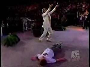 The atheist that hates benny hinn let the bodies hit for Benny hinn bodies hit the floor