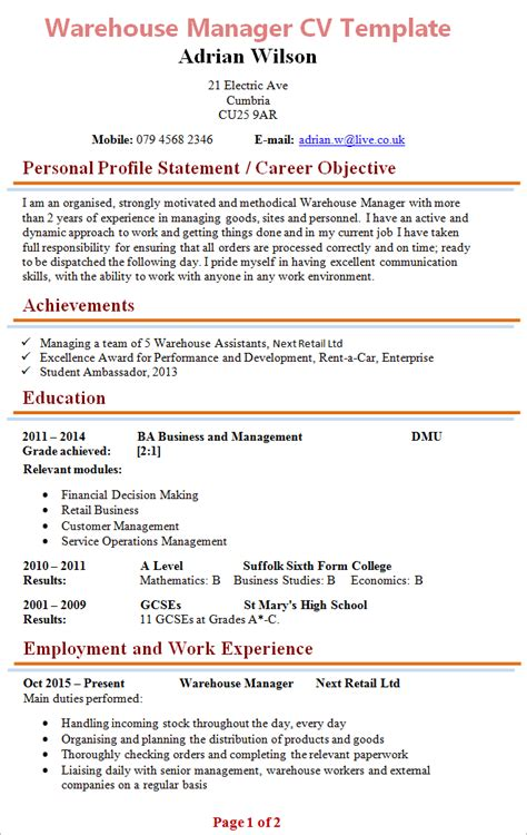 Curriculum Vitae For Warehouse Assistant by Warehouse Manager Cv Template