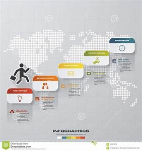 Abstract Business Chart  5 Steps Diagram Template  Graphic