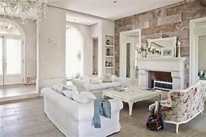 Wandgestaltung Ideen Wohnzimmer : shabby chic wohnzimmer 66 romantische einrichtungen ~ Yasmunasinghe.com Haus und Dekorationen