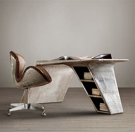 Restoration Hardware Aviator Desk Knock aviator wing desk inspired by streamlined world war ii