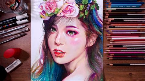 Since these drawings are for girls, you do not have to worry about boring or uninteresting pictures getting in the way of what you really want to draw. Colored pencil drawing - Beautiful Girl | drawholic - YouTube