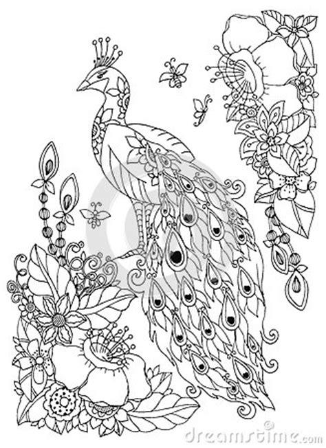 vector illustration zen tangle peacock  flowers