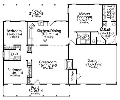 Home Plans HOMEPW17856   1,492 Square Feet, 3 Bedroom 2