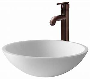 vgt210 flat edged white vessel sink with oil rubbed bronze With flat bathroom sinks