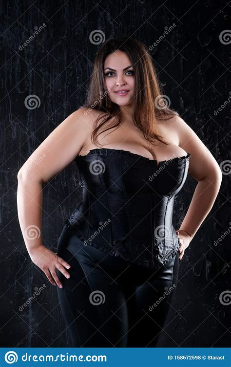 Plus Size Model In Black Corset Fat Woman With Big