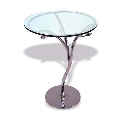 silver leaf accent table modern silver leaf accent table with 18in glass top