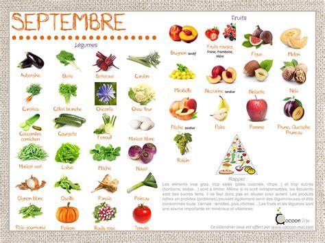calendrier fruits et légumes septembre je cuisine en