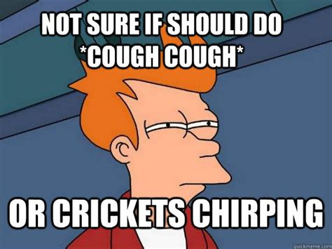 Crickets Chirping Meme - not sure if should do cough cough or crickets chirping futurama fry quickmeme