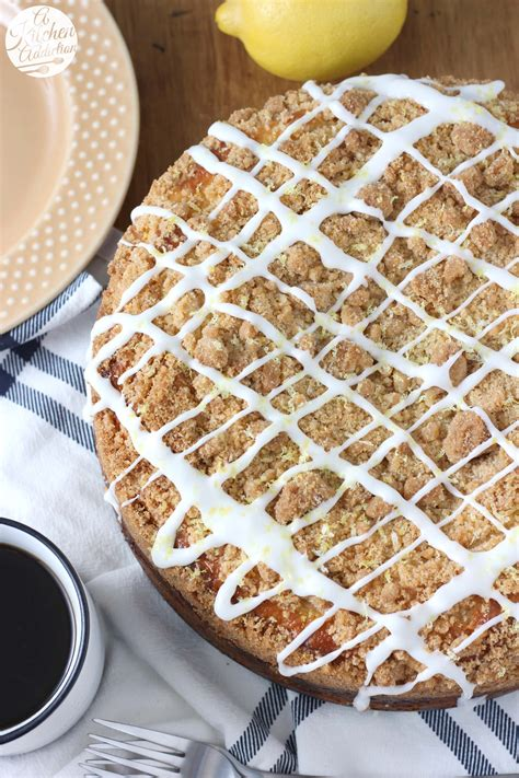 When your cakes are done, leave them on a wire rack to cool. Cream Cheese Swirled Lemon Coffee Cake - A Kitchen Addiction