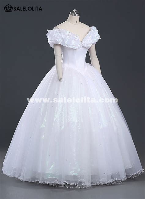 Brand New Women Princess Cinderella Cosplay Costume White Adult Cinderella Wedding Dress