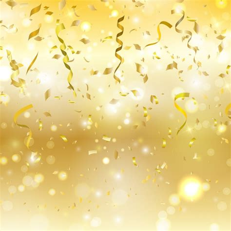 Gold Confetti Background Golden Background With Confetti And Streamers Free