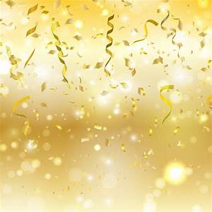 Golden background with confetti and streamers Vector ...