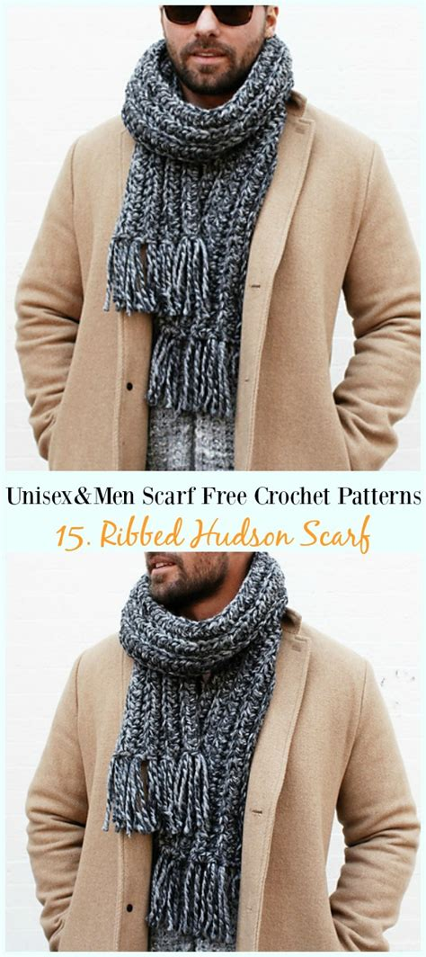 unisex men scarf  crochet patterns