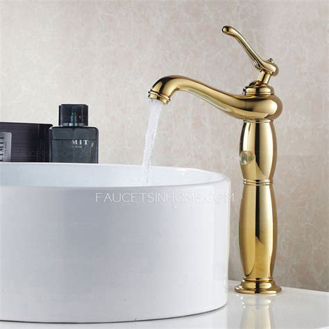 Antique Tall Polished Brass Vessel Bathroom Sink Faucet