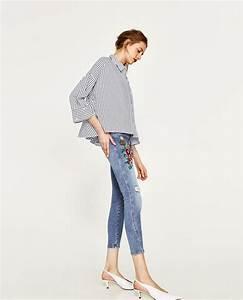 Jeans mit blumenstickerei zara
