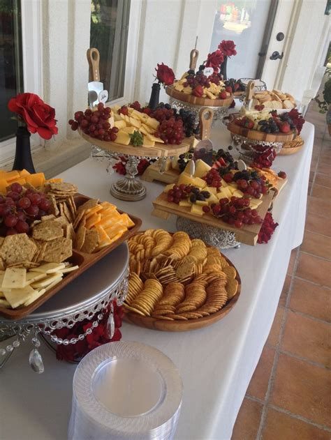 cheese  cracker display wedding appetizers red