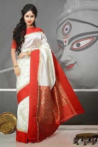bengali women wear red  white sarees quora
