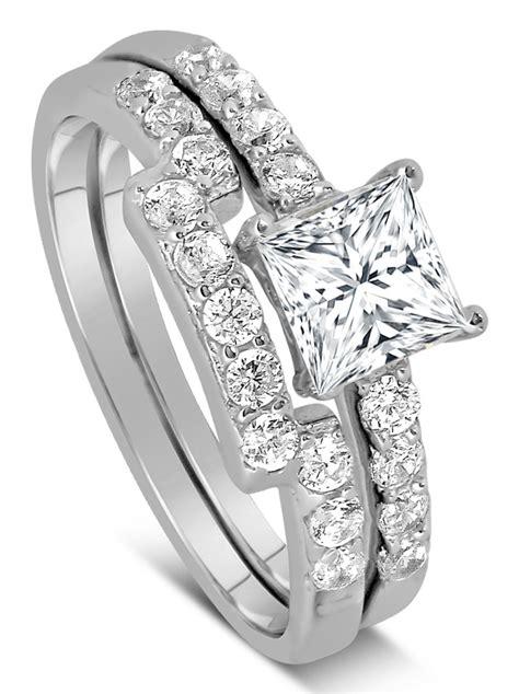 carat princess cut diamond wedding ring set  white gold jeenjewels
