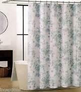 Grey And Aqua Shower Curtain by Tahari Fabric Cotton Blend Shower Curtain Floral Blue Grey Aqua White New EBay