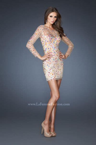 la femme evening  beaded fitted cocktail dress