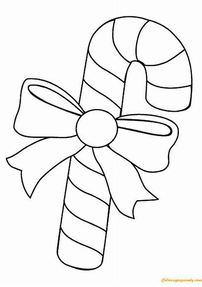 Candy Cane Christmas Pages Coloring Printable Sheets