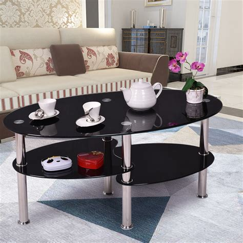 Living Room Side Tables Ebay by New Black Glass Oval Side Coffee Table Shelf Chrome Base