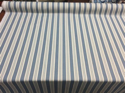 Striped Drapery Fabric by Blue Stripe Cotton Drapery Fabric By The Yard Ebay