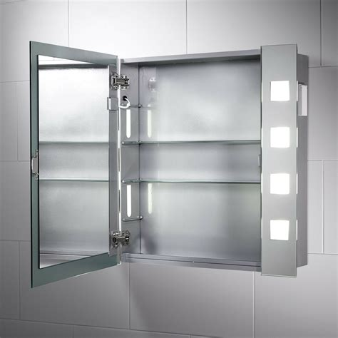 illuminated bathroom cabinet mirror with shaver socket
