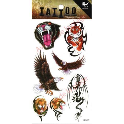 tatouage temporaire aigle tigre lion tattoo ephemere