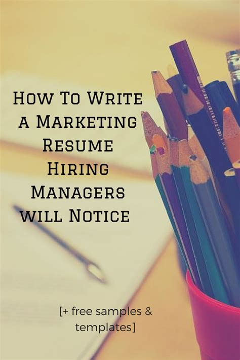 Help To Write A Resume Free by How To Write A Marketing Resume Hiring Managers Will