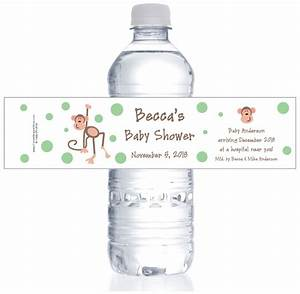 monkey baby shower water bottle labels With custom water bottle labels baby shower