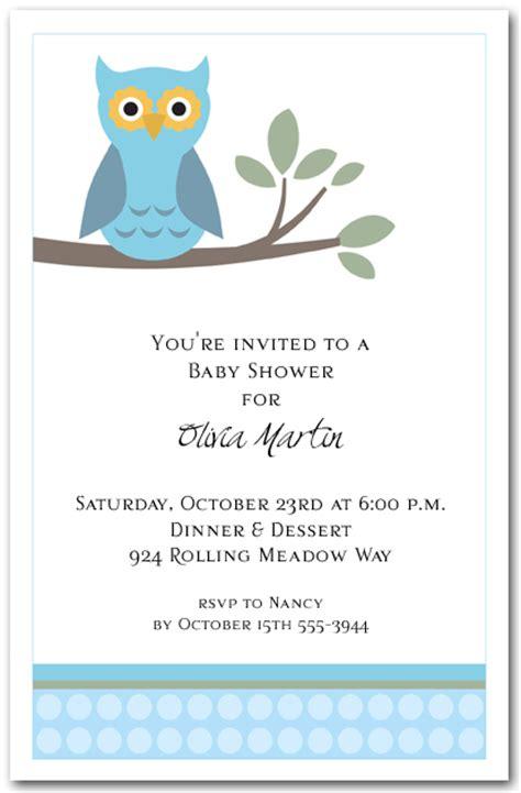 blue owl invitations boy baby shower invitations